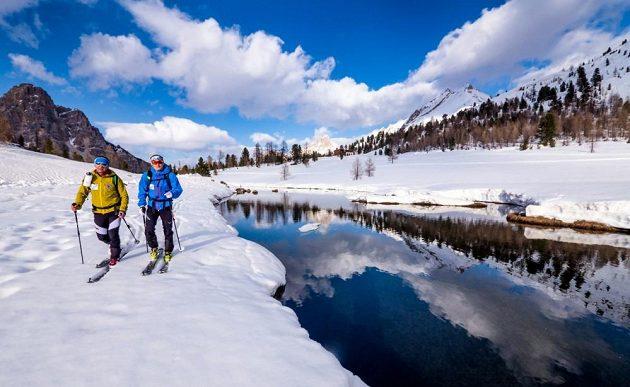 Biatlonista Ondřej Moravec (vpravo) na dovolené v Jižním Tyrolsku.