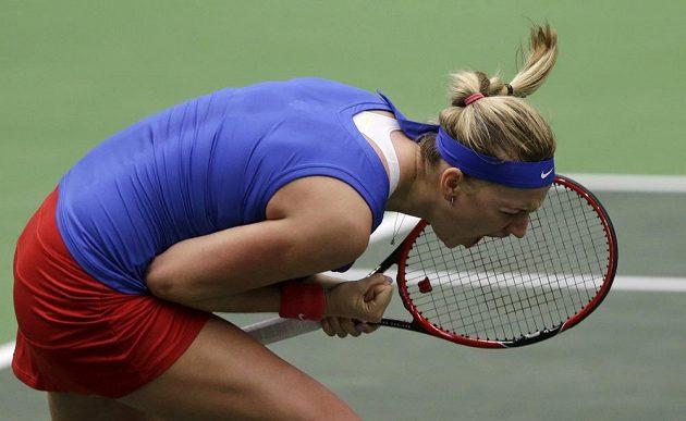 Petra Kvitová po úspěšné výměně v semifinálovém souboji s Garciaovou.