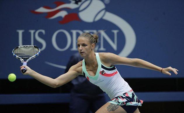 Karolína Plíšková během jedné z výměn v 1. kole US Open.