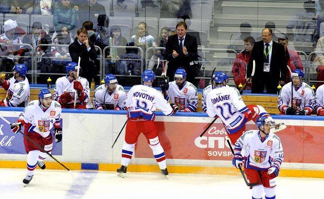 Trenér hokejové reprezentace Alois Hadamczik (vzadu uprostřed) burcuje střídačku při duelu se Švédskem.