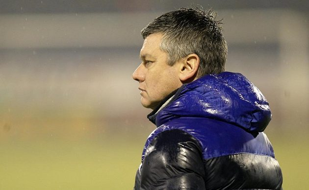 Liberecký trenér David Vavruška během utkání s Baníkem.