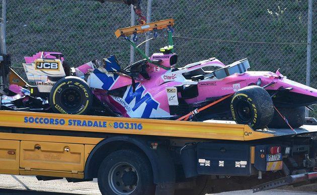 Po havárii zničený Racing Point Lance Strolla.