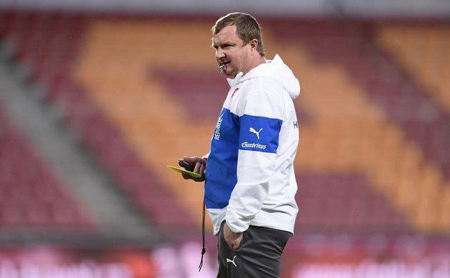 Pavel Vrba na tréninku české fotbalové reprezentace.