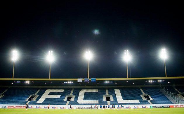 Fotbalisté Plzně si před zápasem Evropské ligy zatrénovali pod umělým osvětlením.