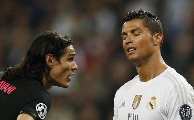 Edinson Cavani (vlevo) z PSG a Cristiano Ronaldo z Realu Madrid v utkání Ligy mistrů.