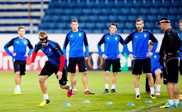 Fotbalisté Plzně během tréninku na utkání Evropské ligy.