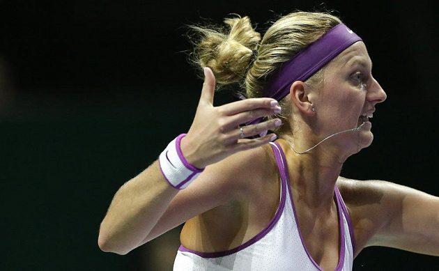 Petra Kvitová při utkání s Angelique Kerberovou z Německa.
