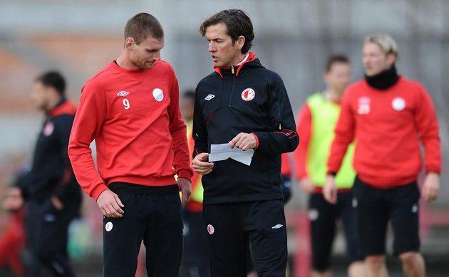 Nový trenér Slavie Alex Pastoor (vpravo) a záložník Martin Juhar.