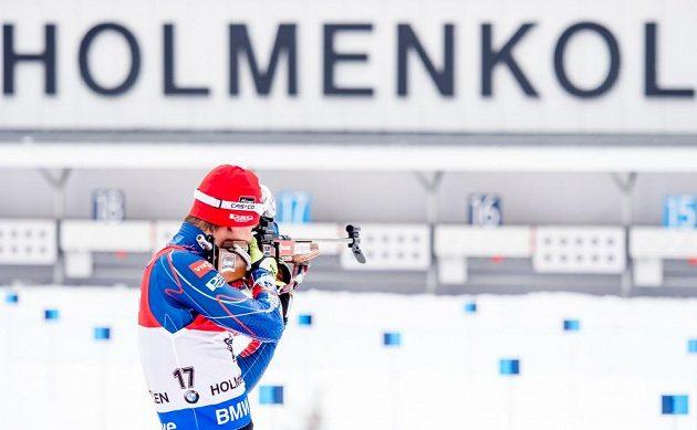 Michal Krčmář na střelnici v dějišti MS v Holmenkollenu.