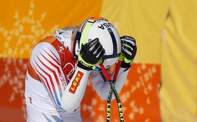Americká favoritka Lindsey Vonnová si vyčítá chyby v závodu v super-G.