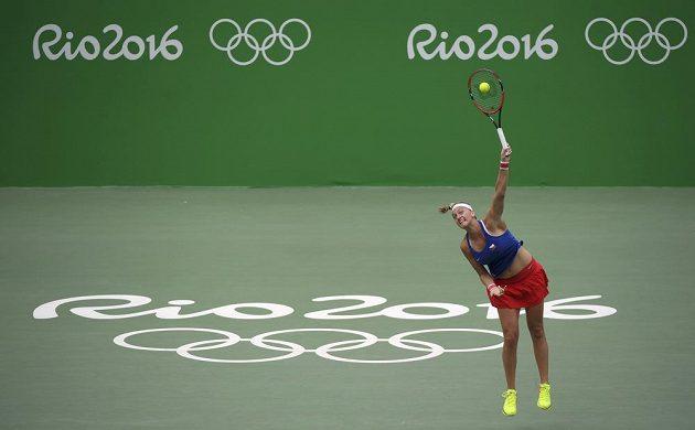 Česká tenistka Petra Kvitová v utkání druhého kola olympijského turnaje s Dánkou Wozniackou.