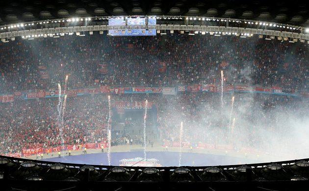 Stadión v Kyjevě před finále Ligy mistrů.