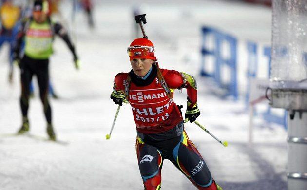 Trénink biatlonistů před závodem štafet.Na snímku Veronika Vítková