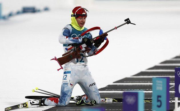 Vítková ve sprintu olympijského závodu v Pchjongčchangu.