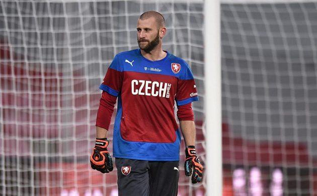 Gólman David Bičík během tréninku české fotbalové reprezentace.