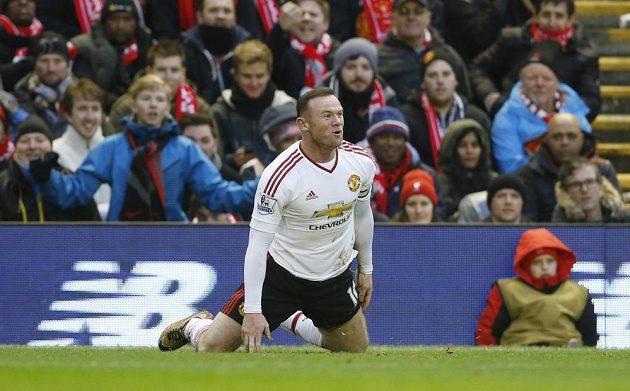 Wayne Rooney z Manchesteru United poté, co dal gól proti Liverpoolu.