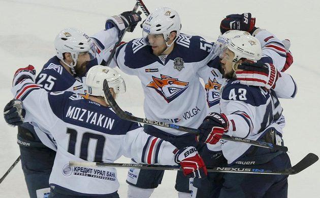 Hokejisté Magnitogorsku slaví triumf v Gagarinově poháru.