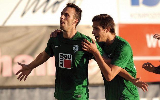 Jablonecký záložník Jan Vošahlík oslavuje vítězný gól během utkání 3. předkola Evropské ligy mezi FK Baumit Jablonec a Stromsgodset IF.