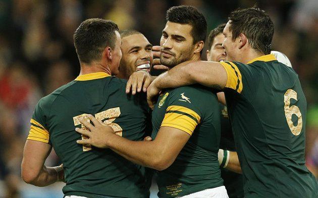 Radost jihoafrických ragbistů během utkání MS proti USA.