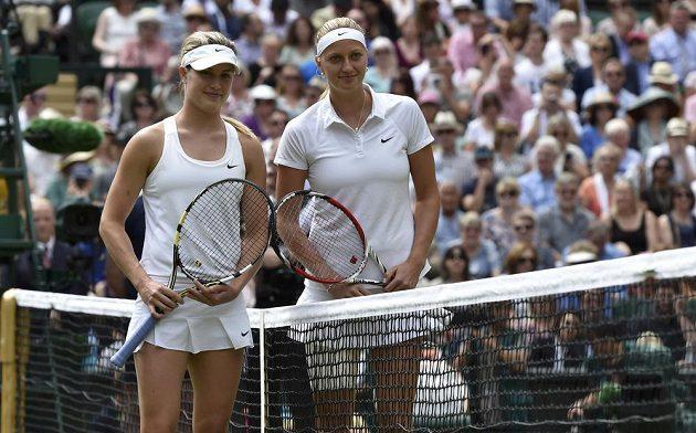 Kanaďanka Eugenie Bouchardová (vlevo) a Petra Kvitová před finálovým zápasem ve Wimbledonu.