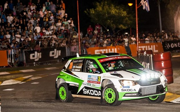 Fin Kalle Rovanperä se Škodou Fabia R5 na trati Argentinské rallye.