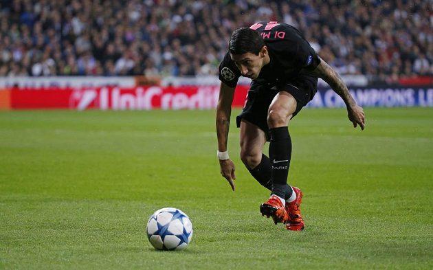Ángel di María z PSG v úterním utkání Ligy mistrů na Santiago Bernabéu proti domácímu Realu Madrid.