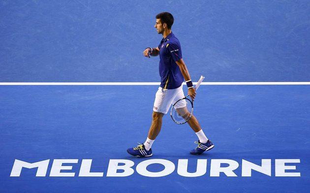 Srbský tenista Novak Djokovič při finále mužské dvouhry na letošním Australian Open.