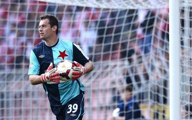 Slávistický brankář Radek Černý během utkání 24. kola Gambrinus ligy se Spartou.