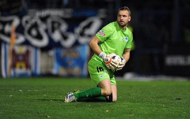 Liberecký brankář Přemysl Kovář během zápasu se Spartou.