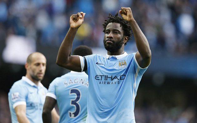 Radost útočníka Manchesteru City Wilfrieda Bonyho z gólu proti Bournemouthu.