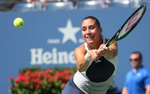 Italka Flavia Pennettaová v utkání s Petrou Kvitovou ve čtvrtfinále US Open.