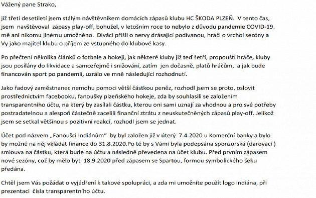 E-mail plzeňského fanouška majiteli klubu Martinu Strakovi.