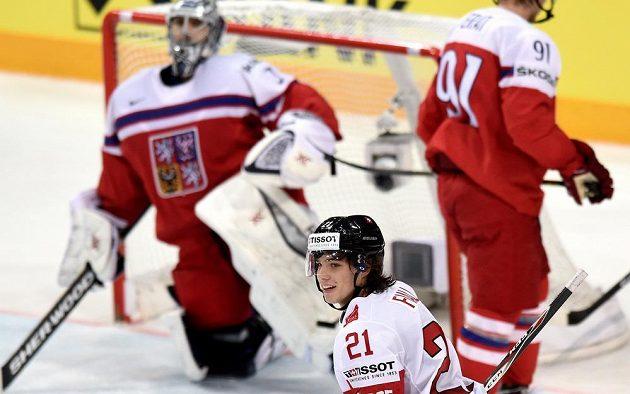Útočník Kevin Fiala, střelec prvního švýcarského gólu proti českým hokejistům.