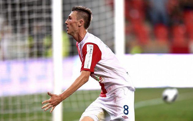 Góool! Slávista Jaromír Zmrhal slaví svou trefu na 2:1 proti Liberci.