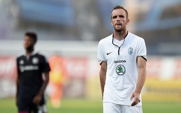 Mladoboleslavský záložník Jasmin Ščuk v první půli duelu s Lyonem neproměnil penaltu.