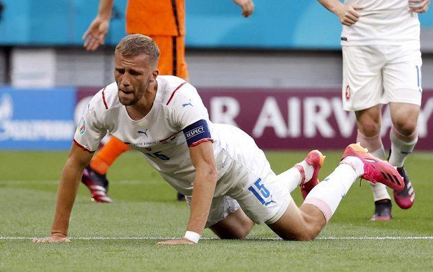 Český kapitán Tomáš Souček v osmifinále EURO proti Nizozemsku.