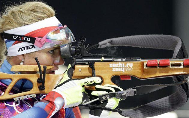 Biatlonistka Gabriela Soukalová na olympijské střelnici.