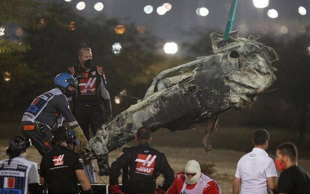 Takto dopadl vůz Romaina Grosjeana
