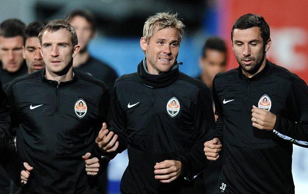 Na Plzeň zbrojil i český záložník Šachtaru Doněck Tomáš Hübschman (uprostřed).