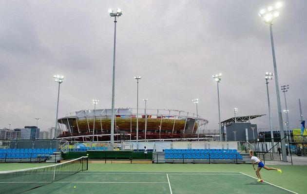 Česká tenistka Petra Kvitová trénuje v Riu de Janeiro.