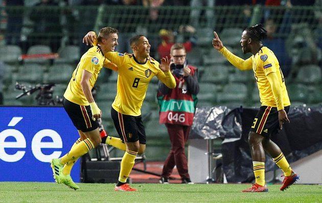 Belgická radost po gólu do sítě ruských fotbalistů v kvalifikaci o postup na EURO 2020.