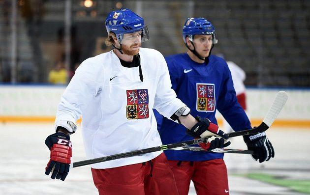 Útočník Jakub Voráček během pondělního tréninku české hokejové reprezentace v O2 areně.