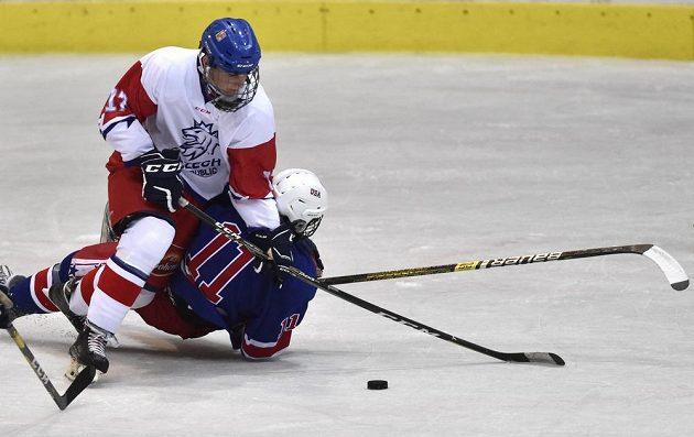 Stanislav Svozil z České republiky a Mark Estapa z USA během Hlinka Gretzky Cup hokejistů do 18 let.