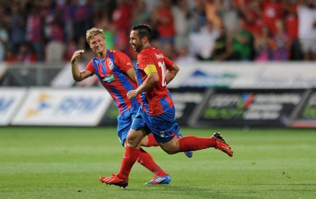 Kapitán Viktorie Plzeň Pavel Horváth oslavuje svůj třetí gól utkání 3. předkola Ligy mistrů s Nomme Kalju.