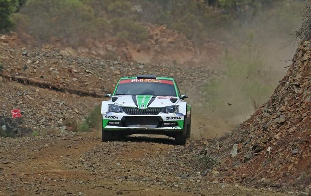 Švéd Pontus Tidemand se Škodou Fabia R5 při testovací rychlostní zkoušce na Turecké rallye.