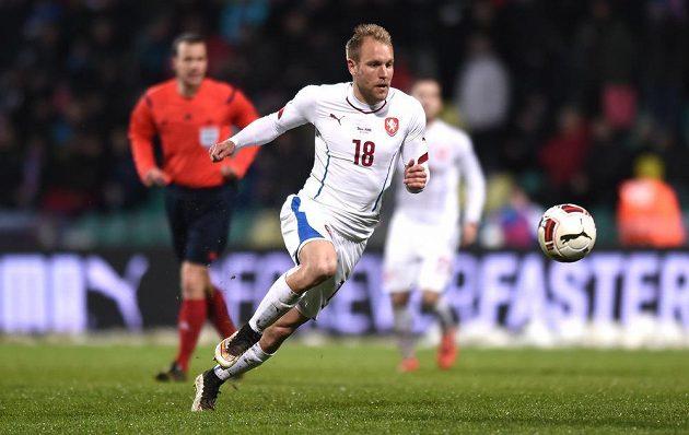 Český záložník Daniel Kolář během přátelského utkání se Slovenskem.