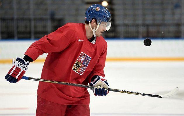 Obránce Michal Kempný během tréninku české hokejové reprezentace v O2 areně.