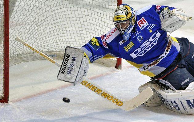 Zlínský brankář Luboš Horčička v semifinále play off extraligy proti Třinci.