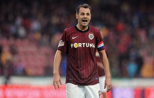 Kapitán Sparty Marek Matějovský během utkání s Duklou.