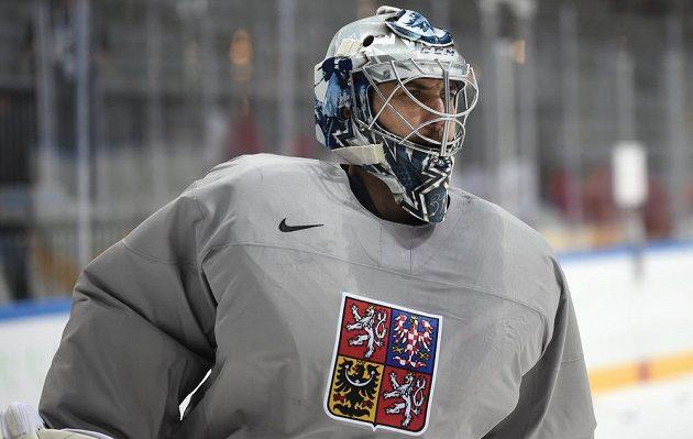 Brankář Winnipegu Ondřej Pavelec na tréninku české hokejové reprezentace.